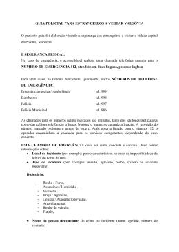 GUIA POLICIAL PARA ESTRANGEIROS A VISITAR VARSÓVIA O