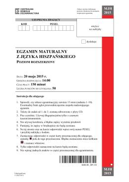 egzamin maturalny z języka hiszpańskiego poziom