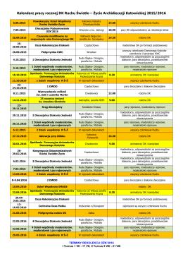 Kalendarz pracy rocznej DK Ruchu Światło – Życie Archidiecezji