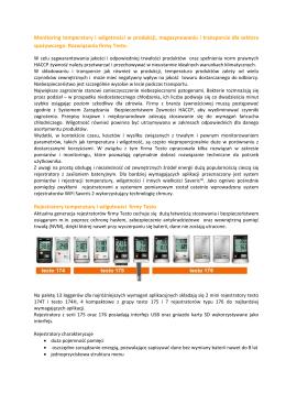 Monitoring temperatury i wilgotności w produkcji, magazynowaniu i