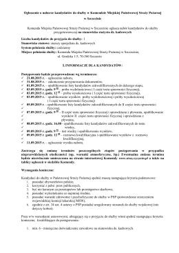 Ogłoszenie o naborze kandydatów do służby w Komendzie