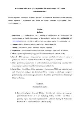 regulamin sprzedaży biletów - TS Podbeskidzie Bielsko