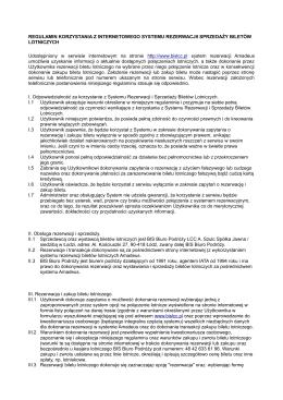 Regulamin Rezerwacji Biletów Lotniczych