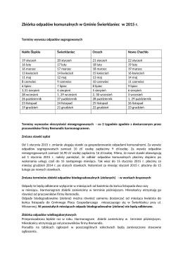 Zbiórka odpadów komunalnych w Gminie Świerklaniec w 2015 r.