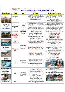 WYCIECZKI Z BELEK NA SEZON 2015 Kapadocja 2 dni Pamukkale