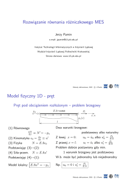 Rozwiązanie równania różniczkowego MES Model fizyczny 1D
