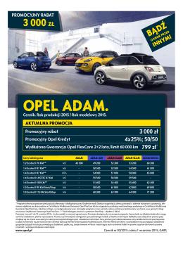 Opel Adam - cennik rok modelowy 2015