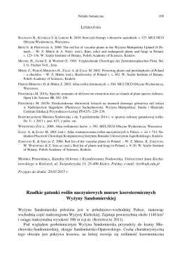 Rzadkie gatunki roślin naczyniowych muraw kserotermicznych