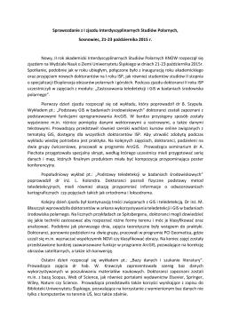 Sprawozdanie z I zjazdu Interdyscyplinarnych Studiów Polarnych