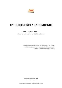 Syllabus WSTI - Marek Cieciura