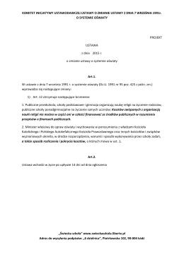 projekt ustawy.
