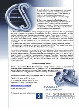 Grupa firm Dr. Schneider specjalizuje się w produkcji wysokiej