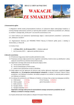 Regulamin konkursu Wakacje ze Smakiem