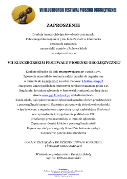 Zaproszenie na VII Festiwal Piosenki Obcojęzycznej