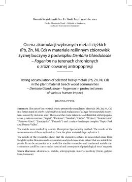 Ocena akumulacji wybranych metali ciężkich (Pb, Zn, Ni, Cd) w