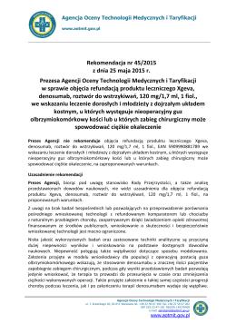 Rekomendacja nr 45/2015 z dnia 25 maja 2015 r. - Onkologia