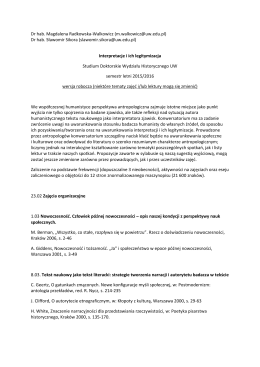 dr hab. M Radkowska-Walkowicz, dr hab. S. Sikora