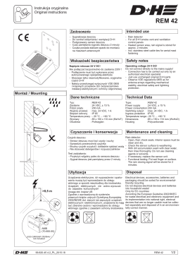 REM 42 DTR - dokumentacja techniczna czujki deszczu