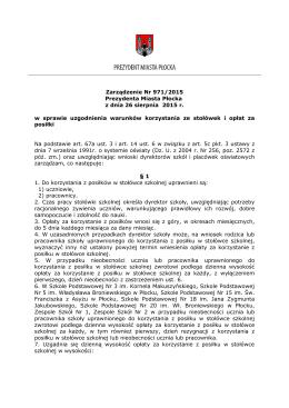 Zarządzenie Nr 971/2015 Prezydenta Miasta Płocka z dnia 26