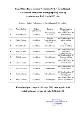 informacja o składzie i pracu OKW w dniu 10.05.2015r.