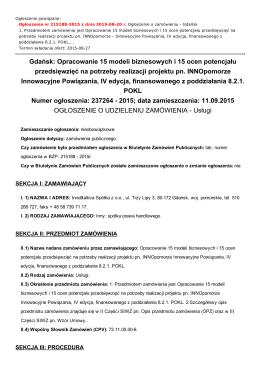 Gdańsk: Opracowanie 15 modeli biznesowych i 15 ocen potencjału
