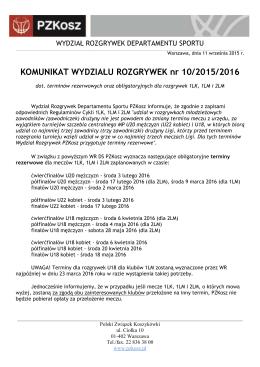 Komunikat WR 10/2015/2016 - Polski Związek Koszykówki