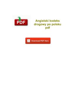 Angielski kodeks drogowy po polsku pdf