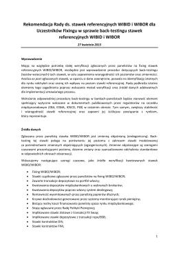 Rekomendacja Rady ds. stawek referencyjnych WIBID i WIBOR dla