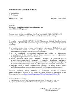 WIELKOPOLSKI KURATOR OŚWIATY ul. Kościuszki 93 61