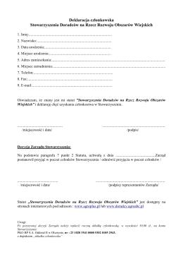 Deklaracja członkowska Stowarzyszenia Doradców na Rzecz