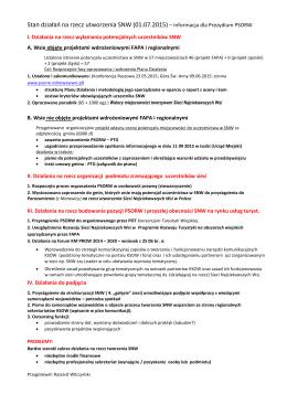 Stan działań na rzecz utworzenia SNW (01.07.2015