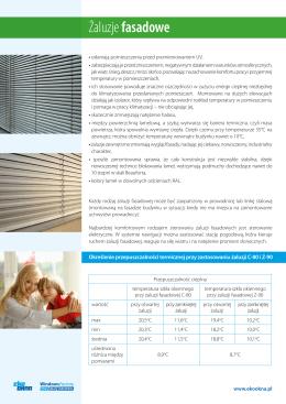 Żaluzje fasadowe - ulotka informacyjna - Eko-Okna