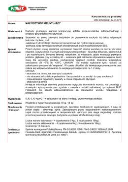 Karta techniczna produktu Nazwa: MAX ROZTWÓR