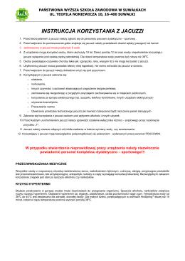 Regulamin jacuzzi - Państwowa Wyższa Szkoła Zawodowa w