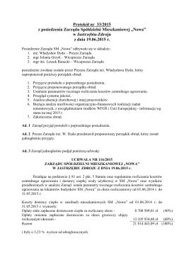 Protokół nr 33/2015 z posiedzenia Zarządu Spółdzielni
