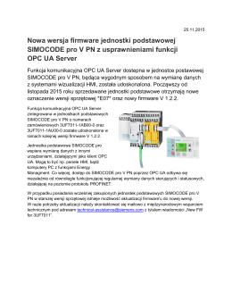 Nowa wersja firmware jednostki podstawowej