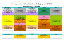 Harmonogram Roztoczańskiego Klubu Karate Tradycyjnego