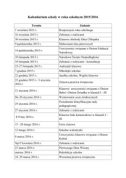 Kalendarium szkoly w..