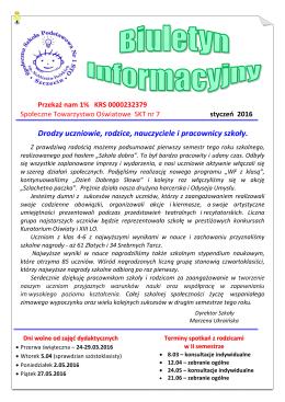 Biuletyn informacyjny - Społeczna Szkoła Podstawowa Nr 1 STO
