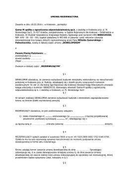 wzór umowy rezerwacyjnej