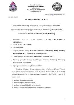 ogłoszenie o naborze - Komenda Powiatowa PSP w Obornikach
