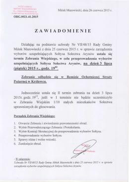 zawiadomienie - Biuletyn Informacji Publicznej, Urząd Gminy Mińsk