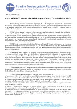 Stanowisko PTF  - Polskie Towarzystwo Fizjoterapii