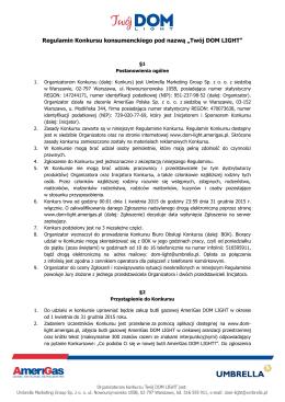 """Regulamin Konkursu konsumenckiego pod nazwą """"Twój DOM LIGHT"""""""