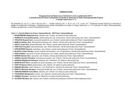 OBWIESZCZENIE Okręgowej Komisji Wyborczej w Krakowie II z