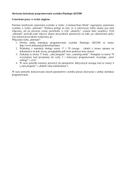 Skrócona instrukcja programowania czytnika Datalogic QS2500