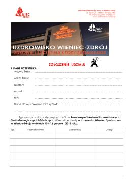 Karta zgłoszenia udziału - Barbórka 2015