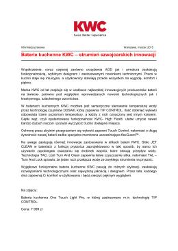 Baterie kuchenne KWC – strumień szwajcarskich innowacji