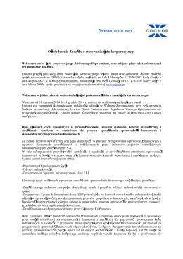 Oświadczenie Zarządu o stosowaniu ładu