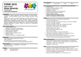 FERIE 2016 - aktywnywypoczynek